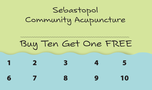 Sebastopol Community Acupuncture Punch Card example